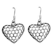 4.02gms indonesian bali style solid 925 silver heart love earrings c8881