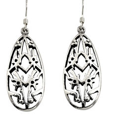 7.06gms indonesian bali style solid 925 sterling silver dangle earrings c8886