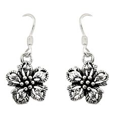 3.02gms indonesian bali style solid 925 sterling silver flower earrings c8890