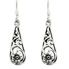 3.26gms filigree bali style 925 sterling silver flower earrings c8891