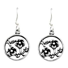 925 sterling silver 4.25gms indonesian bali style solid flower earrings c8892