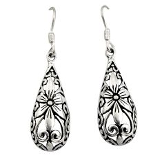 4.69gms filigree bali style 925 sterling silver flower earrings c8893