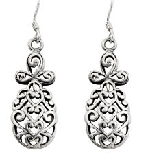 4.25gms filigree bali style 925 sterling silver dangle earrings c8896