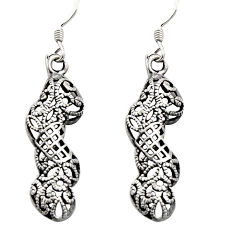 3.48gms filigree bali style 925 sterling silver dangle earrings c8897