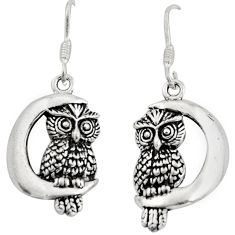 925 sterling silver 6.03gms moon and owl charm earrings c8898