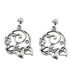 6.89gms filigree bali style 925 silver heart love earrings c8900