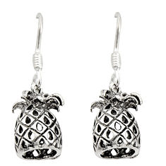 3.48gms indonesian bali style solid 925 silver pineapple charm earrings c8901
