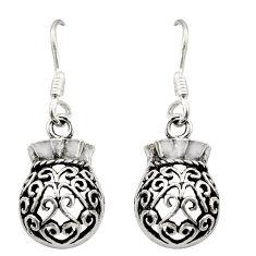 3.48gms filigree bali style 925 sterling silver dangle earrings c8903