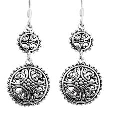 5.69gms indonesian bali style solid 925 sterling silver dangle earrings c8909