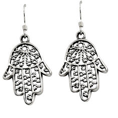 925 silver 4.87gms indonesian bali style solid hand of god hamsa earrings c8912