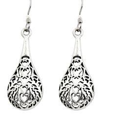 4.87gms filigree bali style 925 sterling silver dangle earrings c8913