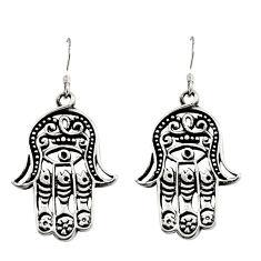 925 silver 7.48gms filigree bali style hand of god hamsa earrings c8915