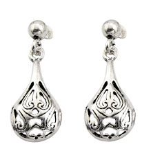 3.69gms filigree bali style 925 plain silver dangle earrings c8917