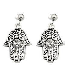 6.26gms filigree bali style 925 silver hand of god hamsa earrings c8918