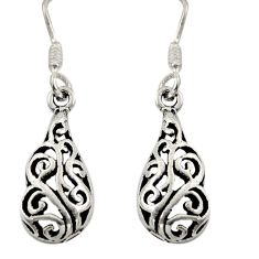 2.89gms filigree bali style 925 sterling silver dangle earrings c8921