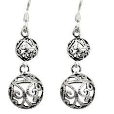 3.89gms filigree bali style 925 sterling silver dangle earrings c8923