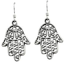 4.82gms indonesian bali style solid 925 silver hand of god hamsa earrings c8930