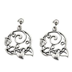 6.69gms filigree bali style 925 silver heart love earrings c8931
