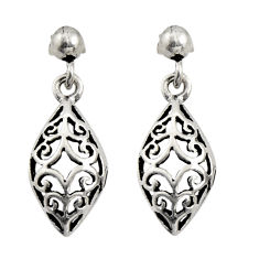 3.69gms filigree bali style 925 sterling silver dangle earrings c8933
