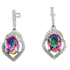 925 sterling silver 8.44cts multicolor rainbow topaz topaz dangle earrings c8937