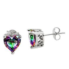 925 sterling silver 4.63cts multicolor rainbow topaz stud earrings jewelry c8940