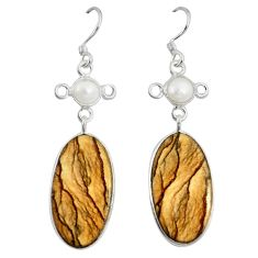 925 silver natural brown picture jasper white pearl dangle earrings d10048