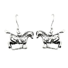 Indonesian bali style solid 925 sterling silver horse earrings jewelry d10426