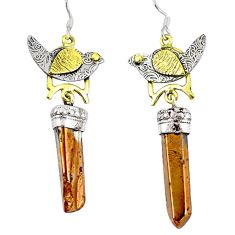 Titanium aura quartz (arkansas) 925 silver 14k gold dangle earrings d12373