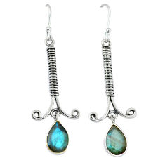 Clearance Sale- ver natural blue labradorite dangle earrings jewelry d12650