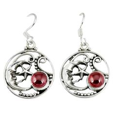 Natural red garnet 925 silver crescent moon star earrings jewelry d12681