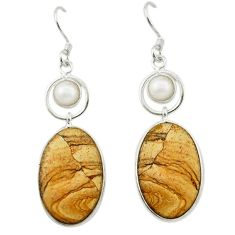 Natural brown picture jasper white pearl 925 silver dangle earrings d14988
