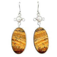 925 silver natural brown picture jasper white pearl dangle earrings d14993