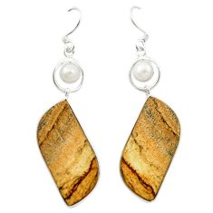Natural brown picture jasper white pearl 925 silver dangle earrings d14998