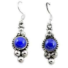 Clearance Sale- Natural blue lapis lazuli 925 sterling silver dangle earrings d15474