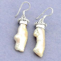 Natural white biwa pearl 925 sterling silver dangle earrings jewelry d15879