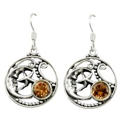 Brown smoky topaz 925 sterling silver crescent moon star earrings d15939