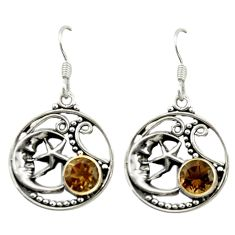 925 sterling silver brown smoky topaz crescent moon star earrings d15945