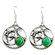 Green malachite (pilot's stone) 925 silver crescent moon star earrings d15957