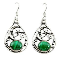Green malachite (pilot's stone) 925 silver crescent moon star earrings d15962