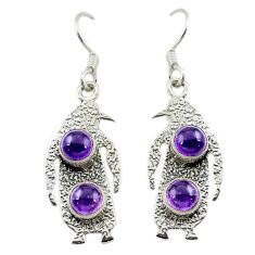 Natural purple amethyst 925 sterling silver dangle penguin charm earrings d15986