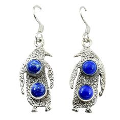 Natural blue lapis lazuli 925 silver dangle penguin charm earrings d15996