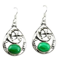 Green malachite (pilot's stone) 925 silver crescent moon star earrings d16013