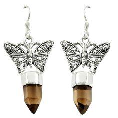 Brown smoky topaz 925 sterling silver butterfly earrings jewelry d16462