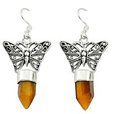 Natural brown tiger's eye 925 sterling silver butterfly earrings d16468