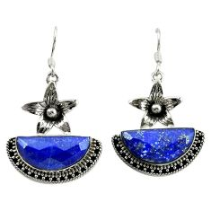 Natural blue lapis lazuli 925 sterling silver flower earrings jewelry d16470