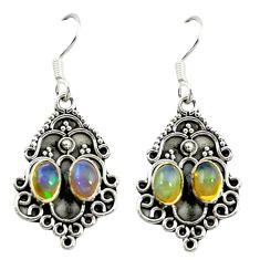 Natural multi color ethiopian opal 925 silver dangle earrings jewelry d16471