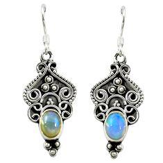 Natural multi color ethiopian opal 925 silver dangle earrings jewelry d16472