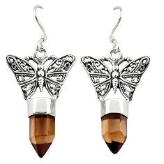 Brown smoky topaz 925 sterling silver butterfly earrings jewelry d16479