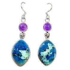 925 silver natural blue shattuckite amethyst dangle earrings jewelry d16550