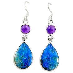 Natural blue shattuckite purple amethyst 925 silver dangle earrings d16552